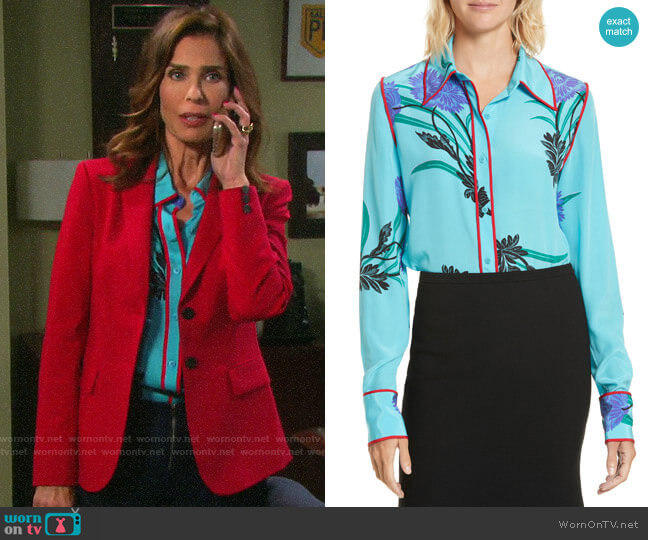 Diane von Furstenberg Floral Print Stretch Silk Shirt worn by Hope Williams (Kristian Alfonso) on Days of our Lives