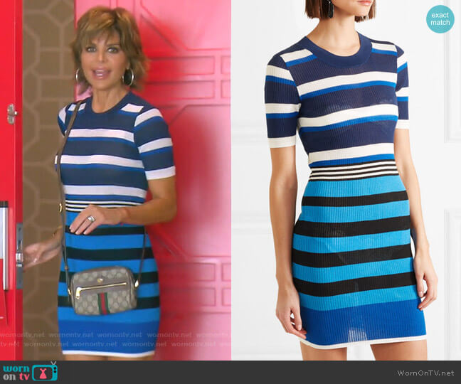 Striped Ribbed Cotton-Blend Dress by Diane von Furstenberg worn by Lisa Rinna (Lisa Rinna) on The Real Housewives of Beverly Hills