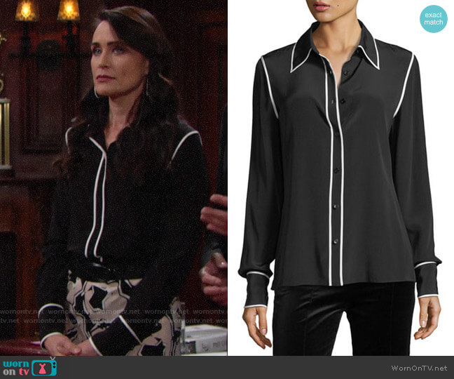 Diane Von Furstenberg Long-Sleeve Button-Front Collared Silk Blouse worn by Quinn Fuller (Rena Sofer) on The Bold & the Beautiful
