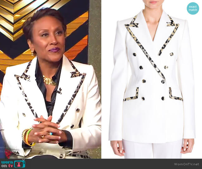 eopard-Trim Double-Breasted Jacket by Dolce & Gabbana worn by Robin Roberts  on Good Morning America