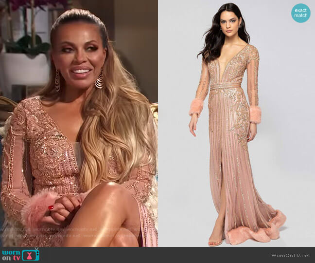 Bead Embellished Plunging Evening Gown by Terani Couture worn by Dolores Catania  on The Real Housewives of New Jersey
