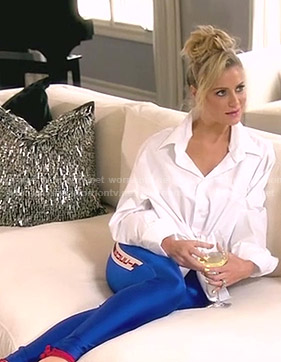 Dorit's blue Gucci leggings on The Real Housewives of Beverly Hills