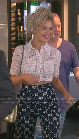 Dorit's white cropped embroidered top and Gucci gg pants on The Real Housewives of Beverly Hills