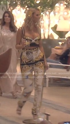 Dorit's printed bustier top and pants on The Real Housewives Beverly Hills