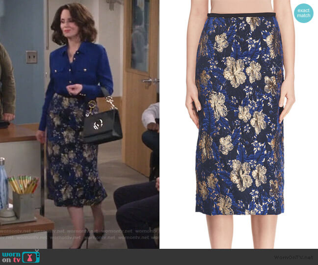 A-Line Metallic Floral-Jacquard Midi Skirt by Dries Van Noten worn by Karen Walker (Megan Mullally) on Will & Grace