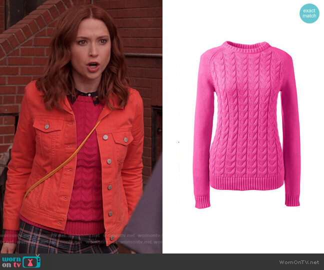 Drifter Cable Knit Sweater in Vibrant Magenta by Lands End worn by Kimmy Schmidt (Ellie Kemper) on Unbreakable Kimmy Schmidt