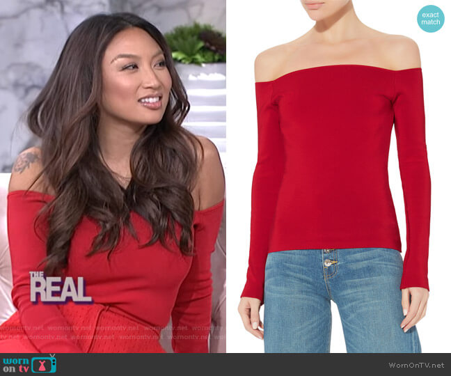 Raylen Off Shoulder Top by Elizabeth and James worn by Jeannie Mai  on The Real