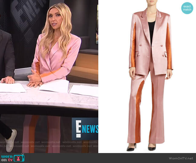 Colorblock Satin Blazer and Trousers by Each X Other worn by Giuliana Rancic  on E! News
