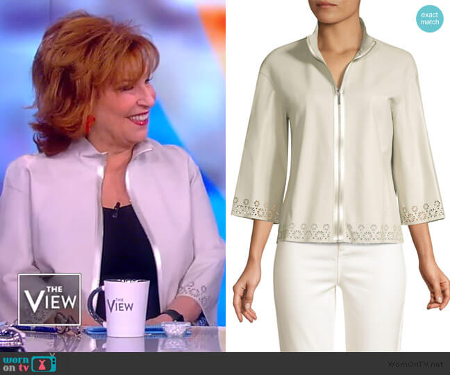 Rainer Eyelet Lace-Trim Leather Jacket by Elie Tahari worn by Joy Behar  on The View