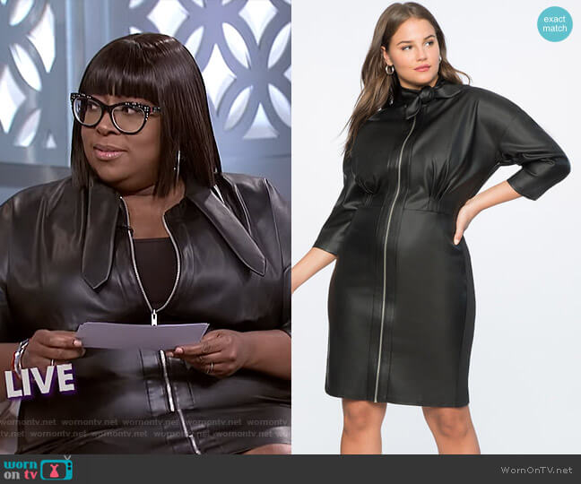 Tie Neck Faux Leather Dress by Eloquii worn by Loni Love  on The Real