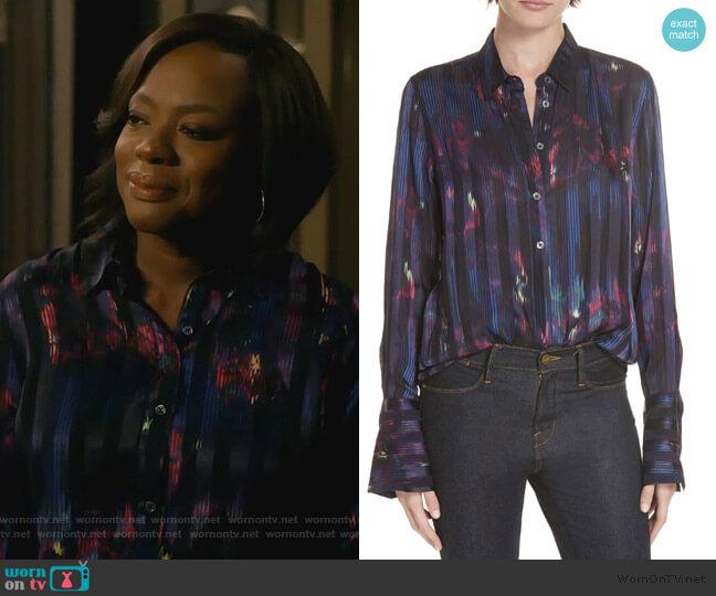 Eleonore Print Silk Blend Shirt by Equipment worn by Annalise Keating (Viola Davis) on HTGAWM