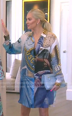 Erika's blue printed shirtdress on The Real Housewives of Beverly Hills