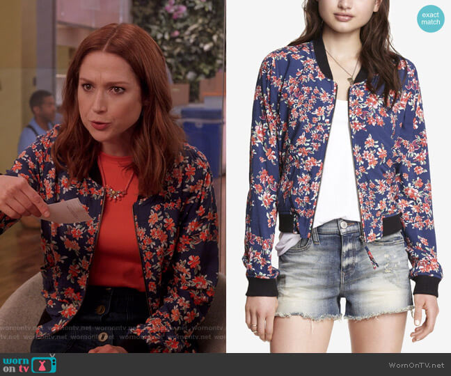 Soft Floral Bomber Jacket by Express worn by Kimmy Schmidt (Ellie Kemper) on Unbreakable Kimmy Schmidt