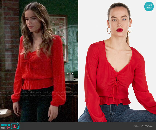 Express Sweetheart Shirred Keyhole Peplum Top worn by Sasha Gilmore (Sofia Mattsson) on General Hospital