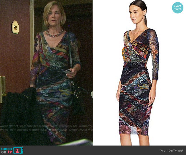 Fuzzi Fitted Dress in Gold Patch worn by Eve Donovan (Kassie DePaiva) on Days of our Lives
