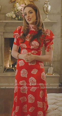 Fallon's red floral tie neck midi dress on Dynasty
