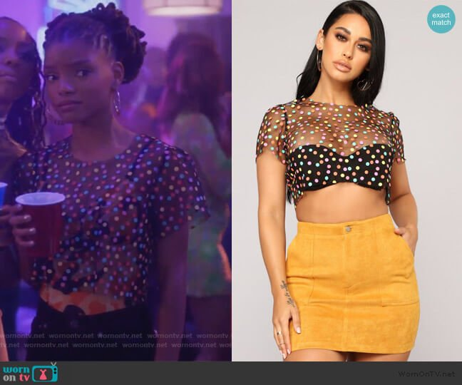 I Mesh You Polka Dot Top by Fashion Nova worn by Skylar Forster (Halle Bailey) on Grown-ish