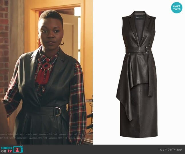 Faux Leather Drape Front Long Vest by Bcbgmaxazria worn by Mina Okafor (Shaunette Renee Wilson) on The Resident