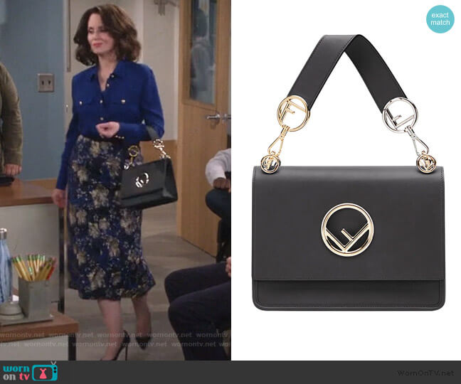 Kan I F shoulder bag by Fendi worn by Karen Walker (Megan Mullally) on Will & Grace