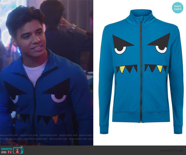 Printed Monster Face Track Jacket by Fendi worn by Vivek Shah (Jordan Buhat) on Grown-ish