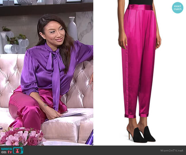 Racing Stripe Silk Tuxedo Pants by Fleur du Mal worn by Jeannie Mai  on The Real