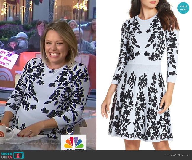 Floral Fit & Flare Sweater Dress by Eliza J worn by Dylan Dreyer  on Today