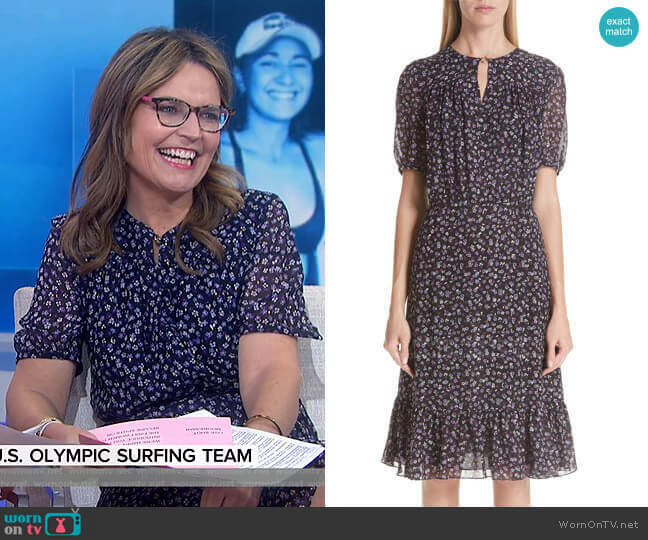 Floral Print Ruffle Hem Dress by Altuzarra worn by Savannah Guthrie  on Today