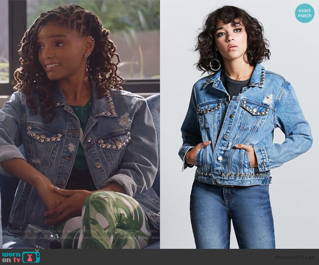 Metal Studded Denim Jacket by Forever 21 worn by Skylar Forster (Halle Bailey) on Grown-ish