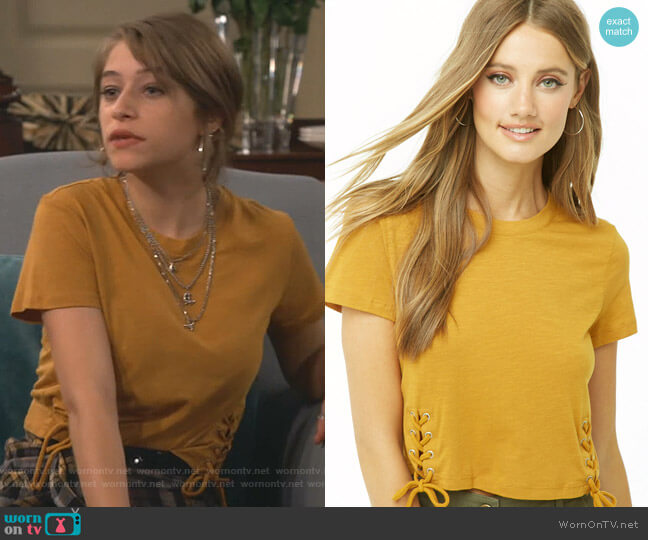 Slub Knit Lace-Up Tee by Forever 21 worn by Shannon (Odessa Adlon) on Fam