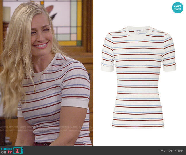 Frame 70s Striped Tee worn by Gemma (Beth Behrs) on The Neighborhood