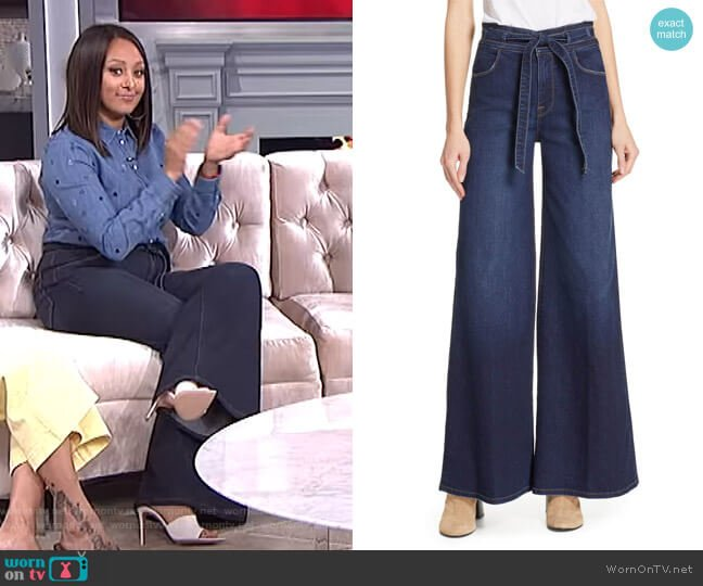 Belted Palazzo Jeans by Frame worn by Tamera Mowry  on The Real
