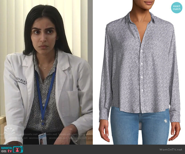 Ditsy Floral Button-Down Top by Frank & Eileen worn by Saanvi (Parveen Kaur) on Manifest
