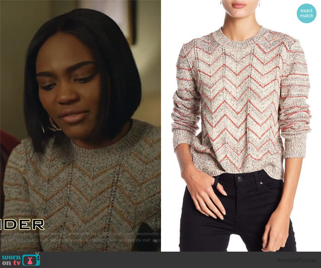 Zigzag Pullover by Free People worn by Jennifer Pierce (China Anne McClain) on Black Lightning
