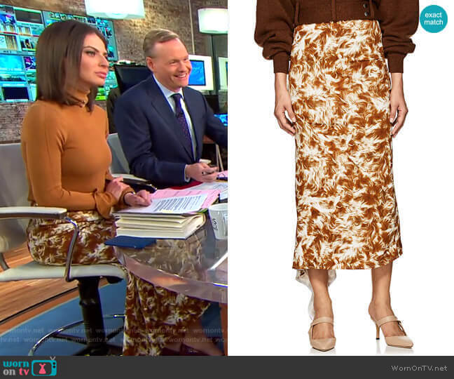 Fur-Print Asymmetric Midi-Skirt by Victoria Beckham worn by Bianna Golodryga  on CBS This Morning