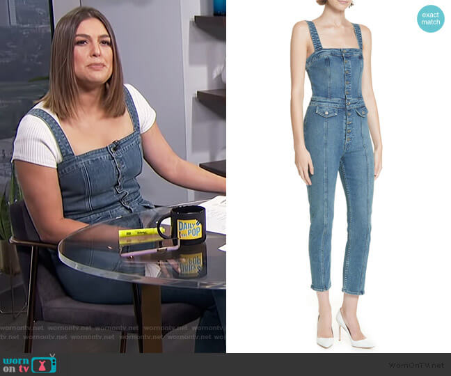 Hill Skinny Overalls by GRLFRND worn by Carissa Loethen Culiner  on E! News