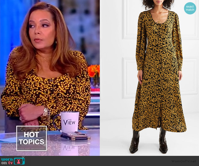Goldstone floral-print crepe de chine midi dress by Ganni worn by Sunny Hostin  on The View