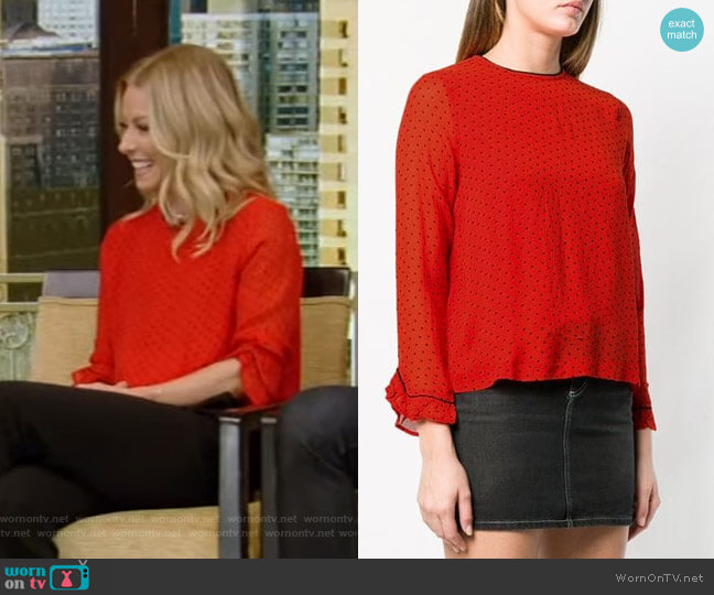 Polka Dot Blouse by Ganni worn by Kelly Ripa  on Live with Kelly & Ryan