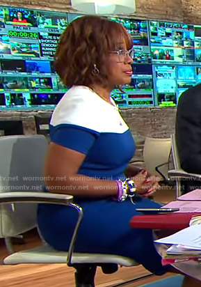Gayle's blue and white colorblock dress on CBS This Morning