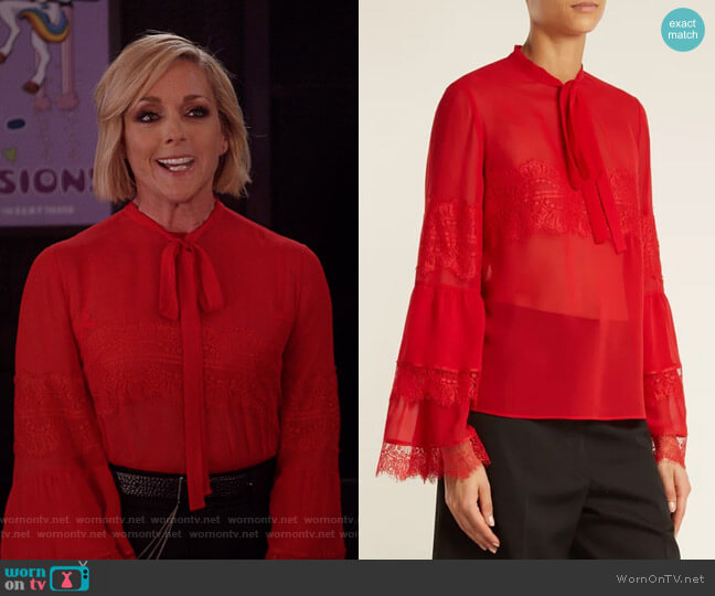 Tie-Neck Lace-Trimmed Silk-Georgette Blouse by Giambattista Valli worn by Jacqueline Voorhees (Jane Krakowski) on Unbreakable Kimmy Schmidt