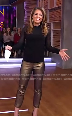 Ginger's black top and metallic cropped pants on Good Morning America