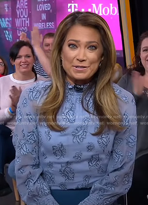 Ginger's blue floral smocked top and zip skirt on Good Morning America