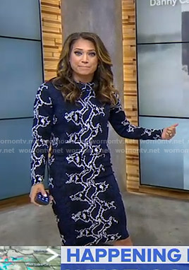 Ginger's blue snake print top and skirt on Good Morning America