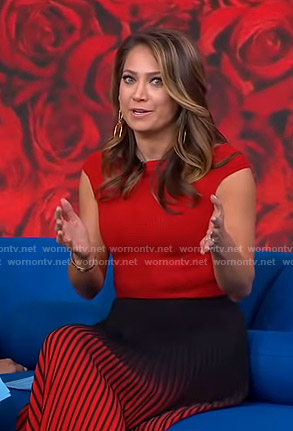 Ginger's red top and pleated ombre skirt on Good Morning America
