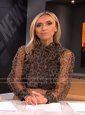 Giuliana's leopard print tie neck blouse on E! News