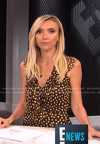 Giuliana's metallic polka dot ruffled dress on E! News