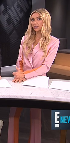 Giuliana's pink and orange colorblock suit on E! News
