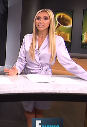 Giuliana's purple satin wrap dress on E! News