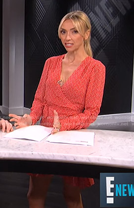 Giuliana's red printed wrap dress on E! News