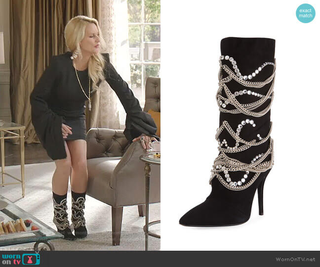 Suede Mid-Calf Boot with Chain Detail by Giuseppe Zanotti worn by Alexis Carrington (Elaine Hendrix) on Dynasty