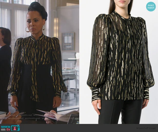 Pussy-bow metallic fil-coupé silk-blend blouse by Givenchy worn by Tegan Price (Amirah Vann) on HTGAWM